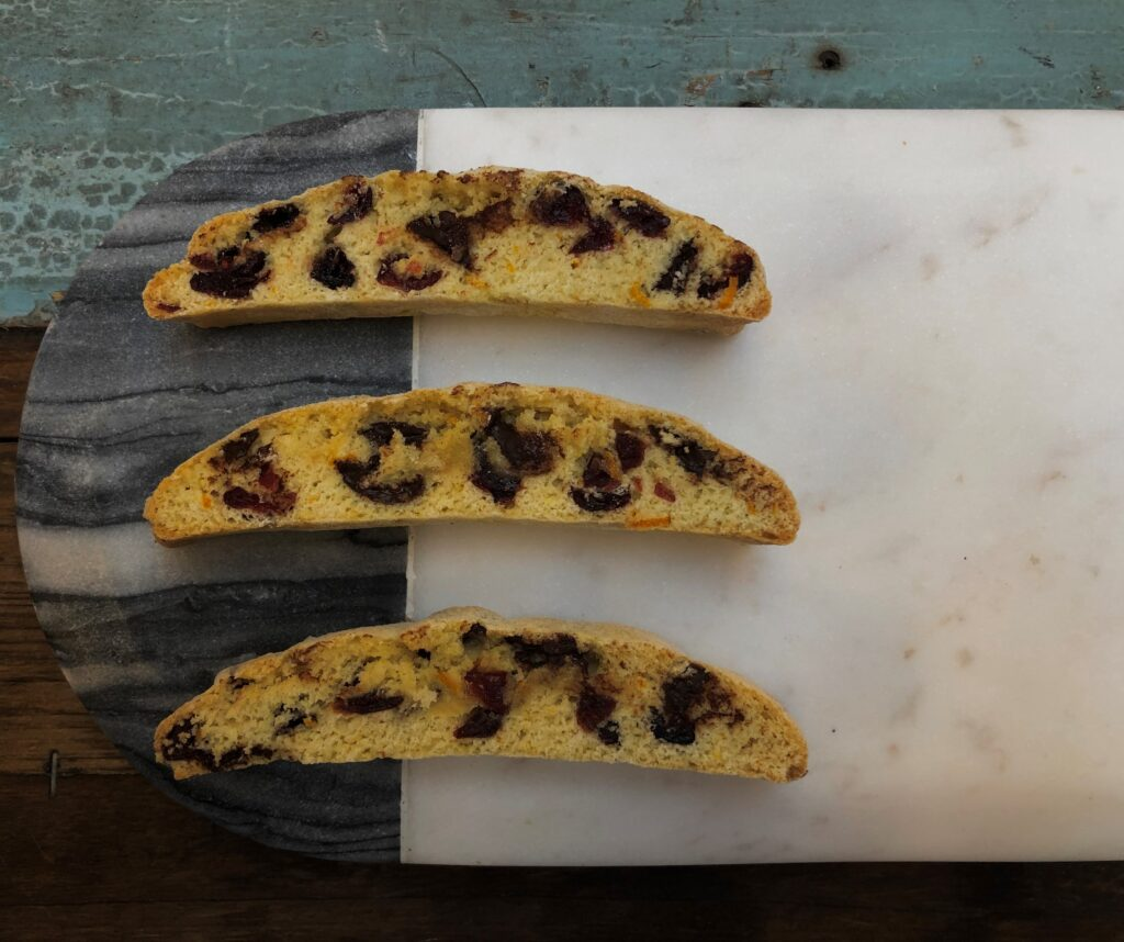 Cranberry, orange and dark chocolate biscotti