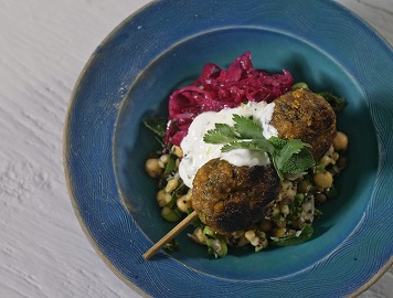 Chickpea, carrot and cumin lamb kofta