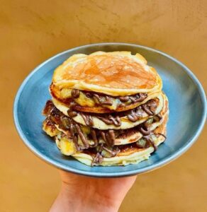 Caramelised banana and crushed oreo pancakes