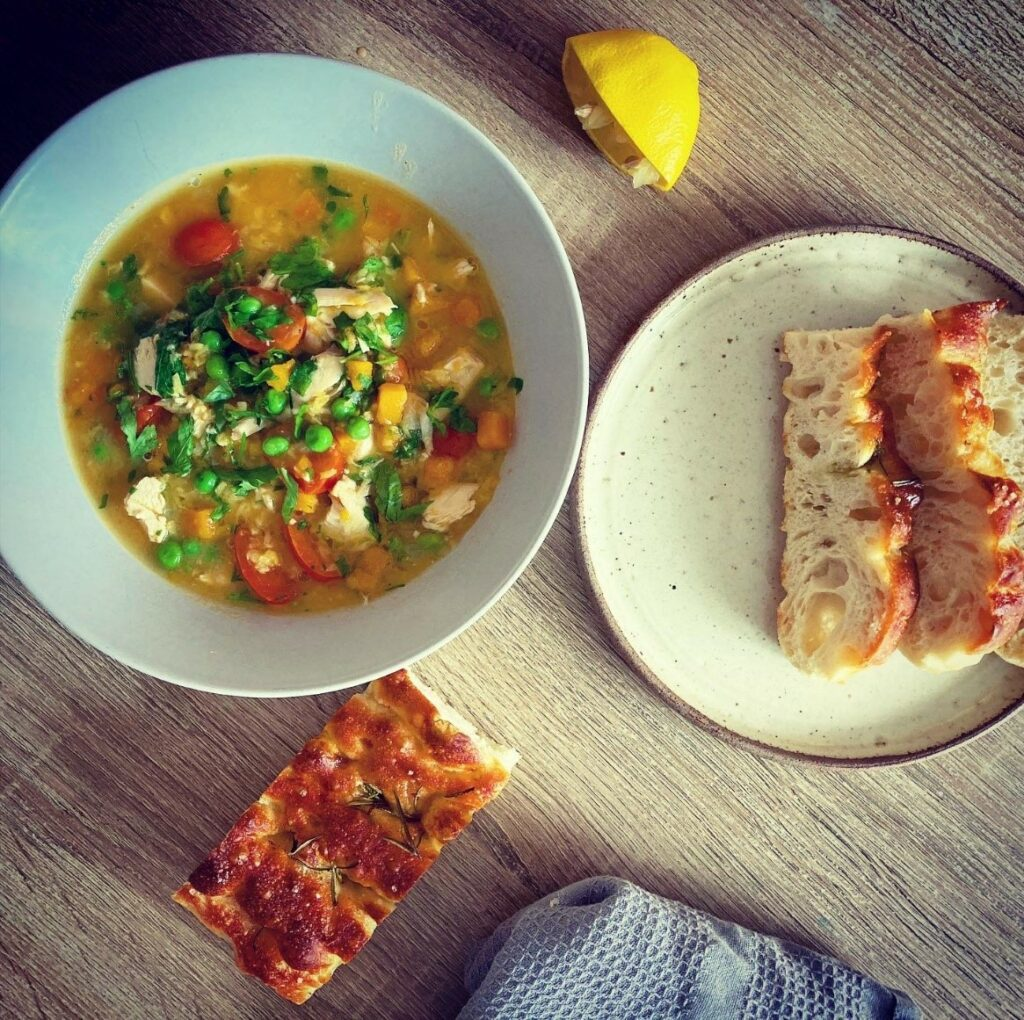 Chicken fat focaccia and soup